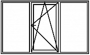 Окно ПВХ новое 2100х1400 3 секции 1 створка по середине Брест