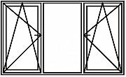 Окно ПВХ новое 2100х1400 3 секции 2 створки Брест